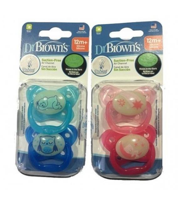 Chupetes Dr. Brown's - Dr. Browns Chupete Nocturno Brilla +12 m 2 unidades -