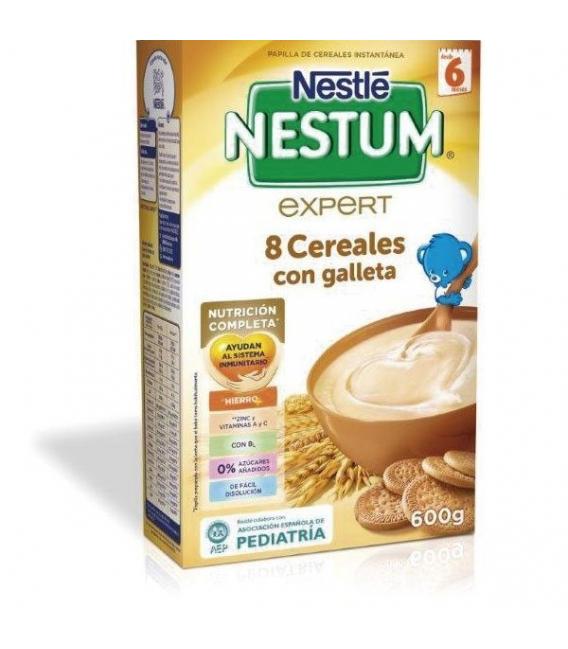 PAPILLAS - Nestle Nestum Expert 8 Cereales Con Galleta Y Bifidus +6M 600 Gramos -