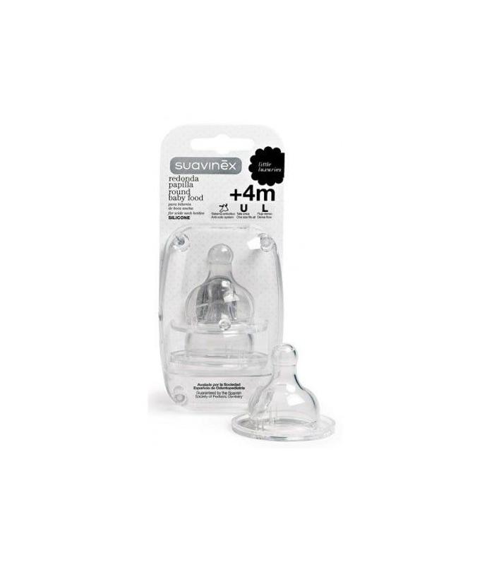 Suavinex Tetina Papilla Redonda Silicona +4m 2 uds