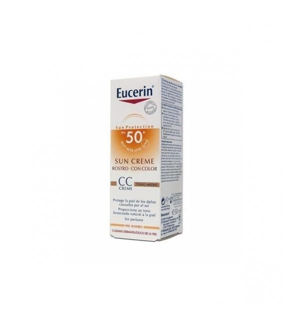 PROTECCIÓN FACIAL - Eucerin Crema Facial con Color SPF 50+ 50ml -