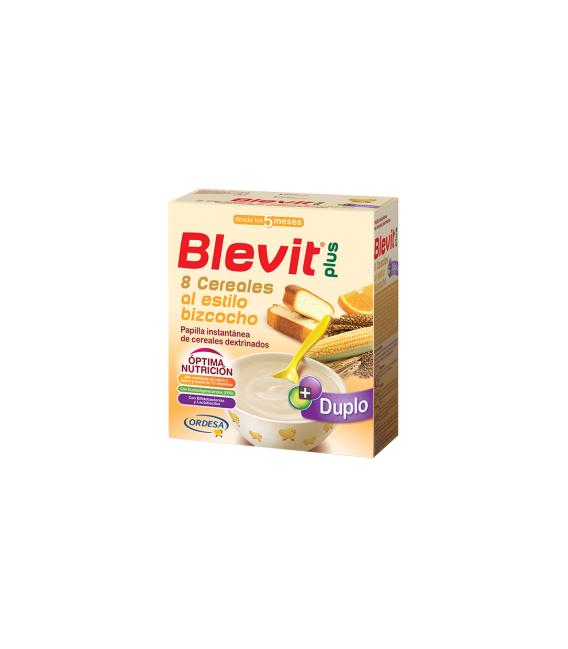 PAPILLAS - Blevit Plus Duplo 8 Cereales Estilo Bizcocho Con Naranja 600 Gramos -