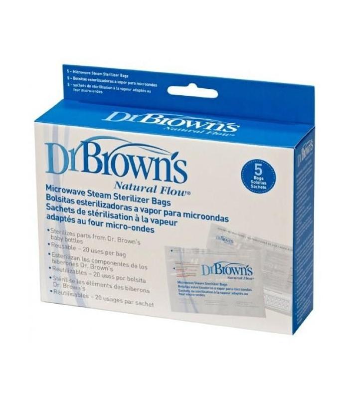 ESTERILIZACIÓN DE BIBERONES Y LIMPIEZA - Dr. Browns Bolsas Esterilización a Vapor para Microondas 5 Unidades -