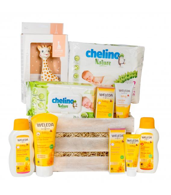 Canastillas de Bebé - Canastilla Bebé Ecológica Unisex Weleda con Sophie la Girafe -